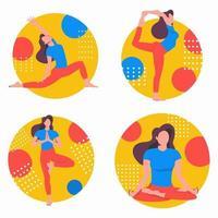 conjunto de ioga com exercícios. esportes em casa online. vetor