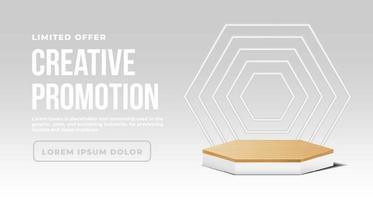 banner minimalista com pódio de madeira branco vetor