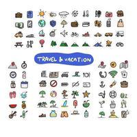 conjunto de ícones coloridos de férias para viagens vetor
