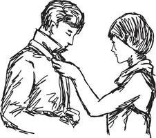 esposa amarrando gravata do marido vetor