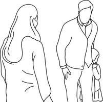 homem protegendo menina de mulher má vetor