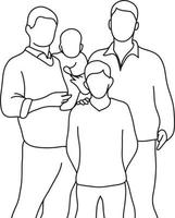 ilustração vetorial de família gay com dois filhos vetor