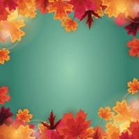 modelo de fundo natural de outono com folhas caindo vetor