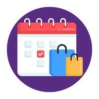 agenda de dados de compras vetor