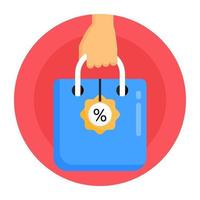 sacola de compras em liquidação vetor