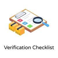 lista de verificação de verificação vetor