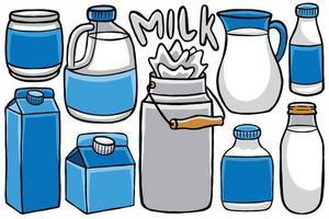 embalagem de leite fofa em estilo design plano vetor