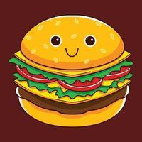 personagem de hambúrguer fofo em estilo design plano vetor