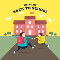 alunos felizes correndo para a escola. de volta ao conceito de escola. vetor