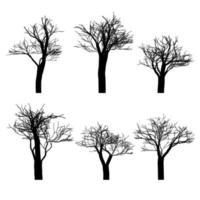 conjunto de silhueta de árvores nuas pretas definido. mão desenhada isolada. vetor
