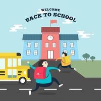 alunos felizes correndo para a escola com o ônibus escolar. vetor