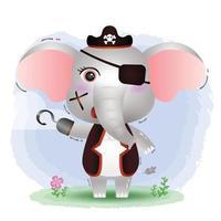 ilustração em vetor elefante piratas fofos