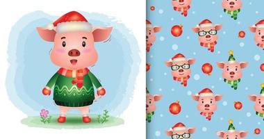 uma coleção de personagens de Natal de porco fofo. padrão sem emenda vetor