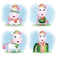coleção de personagens de natal de unicórnio fofo vetor