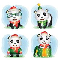 coleção de personagens de natal do panda fofo vetor