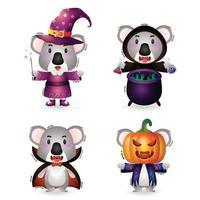 Coala fofo com fantasia de coleção de personagens de halloween vetor