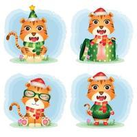 coleção de personagens de natal de tigre fofo vetor