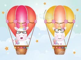unicórnio fofo em balão de ar quente vetor
