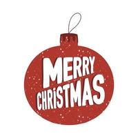 bola de árvore de natal com efeito de neve e letras de feliz natal vetor