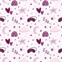 Doce padrão pastel de berçário de bebê com lua, estrelas, nuvem vetor