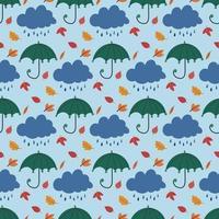 bonito padrão sem emenda com guarda-chuva desenhado à mão, nuvem de chuva, folhas vetor