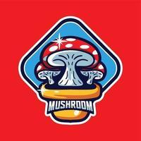 estilo moderno do personagem do logotipo do cogumelo do mascote vetor
