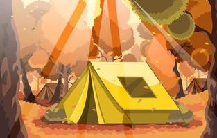 acampar na floresta no outono vetor