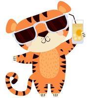 tigre fofo em óculos de sol com uma taça de coquetel vetor