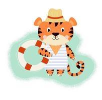 tigre fofo descansando na praia em um maiô listrado com bóia salva-vidas vetor