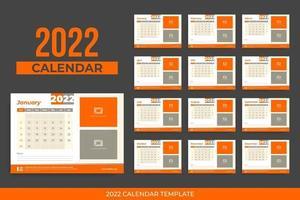 Calendário de mesa 2022 vetor