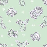 doodle vetor padrão sem emenda de cactos com estrelas