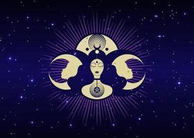 mulher wicca mãe terra símbolo da procriação sexual. deusa espiral vetor