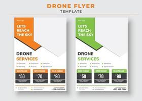 modelo de panfleto de drone, vamos alcançar o panfleto de drone do céu vetor