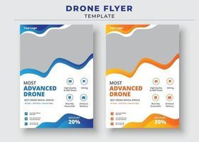 modelo de folheto de drone, folheto de serviços de drone mais avançado vetor