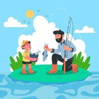 pai e filho pescando juntos vetor