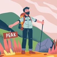 homem no pico da montanha vetor