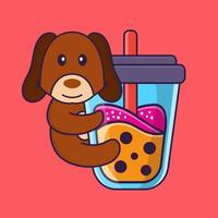 lindo cachorro bebendo chá de leite de boba. vetor