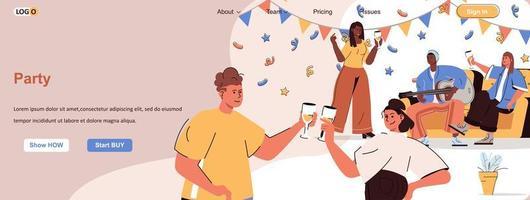 banner de festa na web para materiais promocionais de mídia social vetor