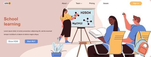 banner da web de aprendizagem escolar para materiais promocionais de mídia social vetor