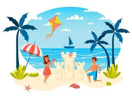 cena isolada de férias de verão vetor