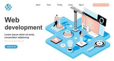 conceito isométrico de desenvolvimento web para página de destino vetor