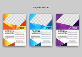 design de modelo de folheto de vacinação contra coronavírus vetor