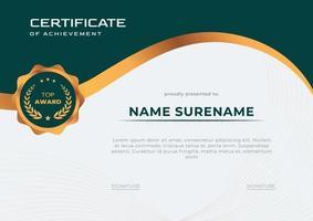 modelo de certificado de conquista elegante verde e dourado vetor