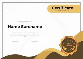 modelo de certificado de conquista de ouro de luxo vetor