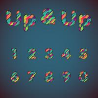 'Up & up' fonte colorida definida com sombras | Efeito 3D | Ilustração vetorial vetor