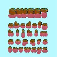 Conjunto de caracteres de fonte doce com, ilustração vetorial