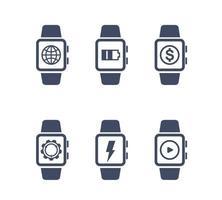 ícones de vetor de relógio inteligente em branco