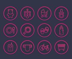 conjunto de ícones de linha de bebê, brinquedos, carrinho de bebê, chupeta, berço, fralda vetor