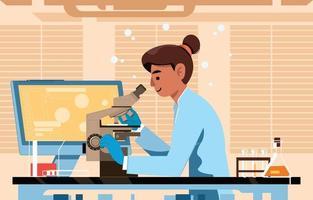 cientista estuda espécime com seu microscópio vetor