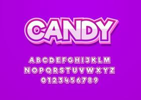 fonte de vetor de estilo divertido doce com letras maiúsculas e números
